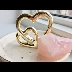Rose quartz gem stone Heart home decoration